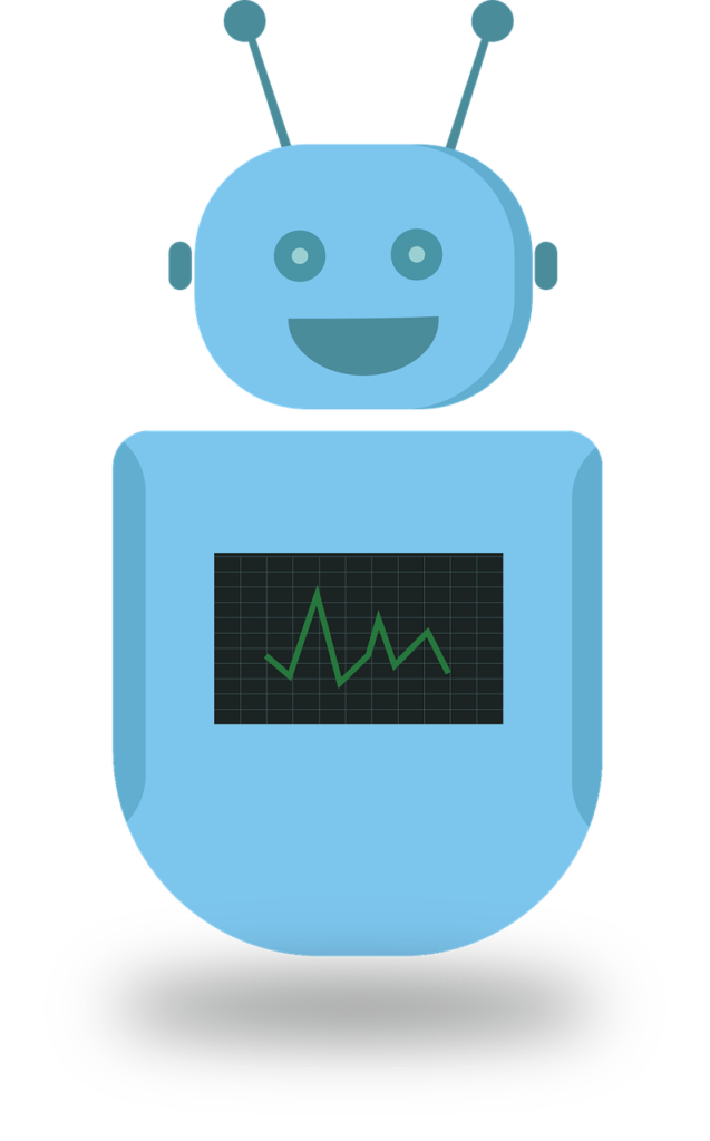 A picture of a human shaped blue robot with two antennae on her/his head. She/he has a black screen in the middle of their tummy. Chatbots are so useful and portable and can help you to upsell.
