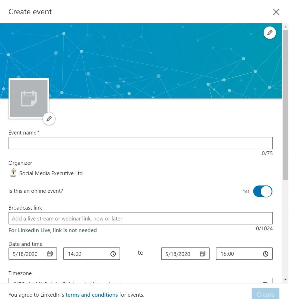 screen grab of LinkedIn Page showing how to create an event