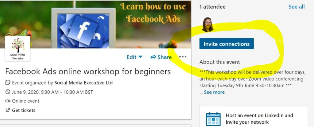 A screen grab demonstrating how to invite connections from your LinkedIn profile to you new LinkedIn event you've just set up. You simply click the blue invite connections button on the right hand side of your screen.