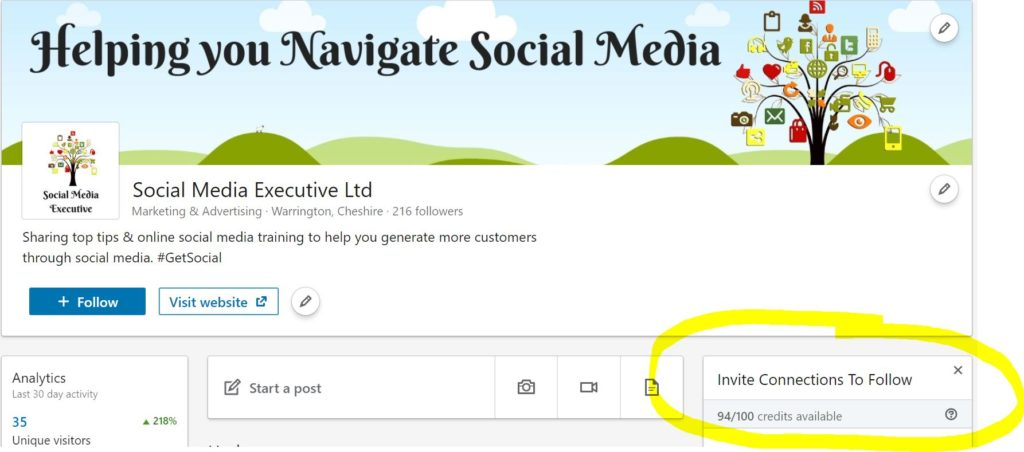 A screen grab showing how easy it is to invite your connections on LinkedIn to follow your new business page. Just click the white 'Invite Connections to Follow' button on the righthand side of the screen. They'll see all your event too!