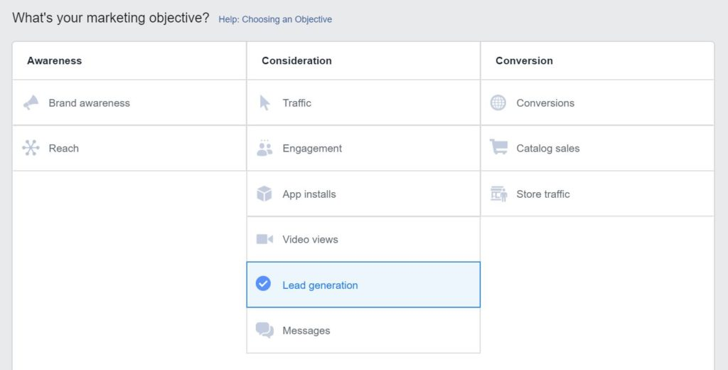 Screen grab from the Facebook ads page showing all of the 9 main objectives you have to drive people through your sales funnel