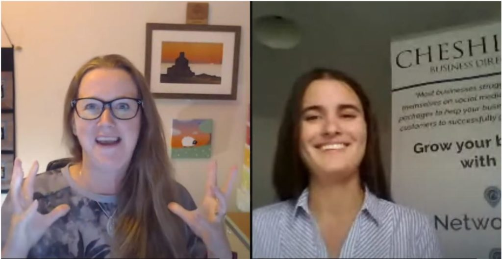 Screen shot of Becs Bate and Kerry Burgess chatting on Becs Bate YouTube channel. They discussed how to grow your business, managing groups and much more.