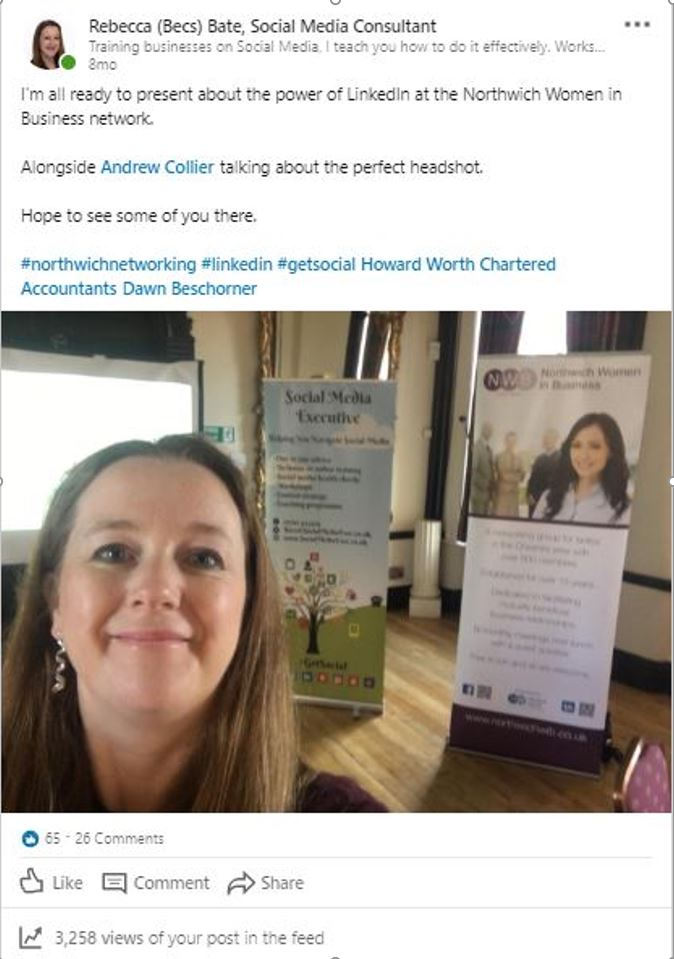 Becs Bate selfie in front of her training stand getting ready for her LinkedIn course at the Norwich Business Network with Andrew Collier