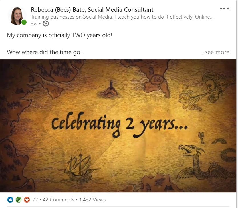 Becs Bates social media post celebrating 2 years in business.