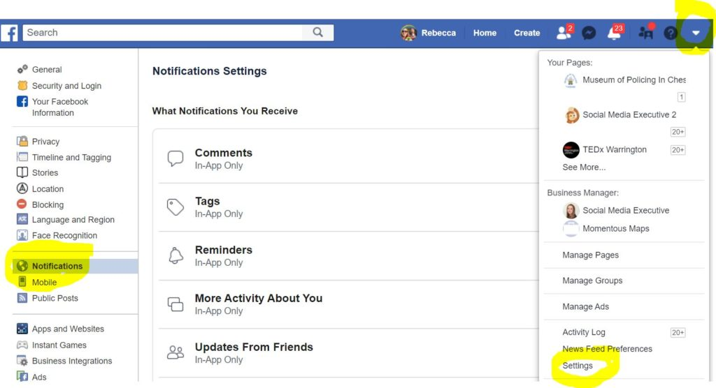 Screen grab of my Facebook homepage. Click the down arrow on your notification settings and you can fully personalise all of your setting so that your notifications are unique to you. Saving you time!
