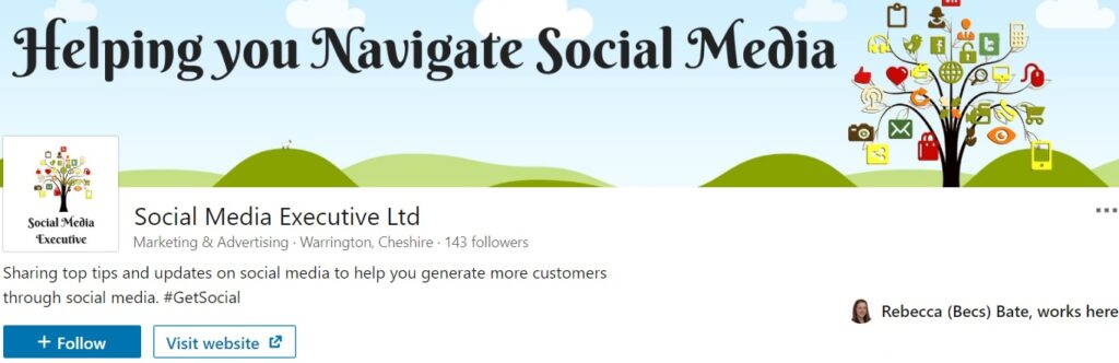 A screen grab from Bec's LinkedIn Company page, demonstrating how best to use the space under your name to highlight your company's strapline.