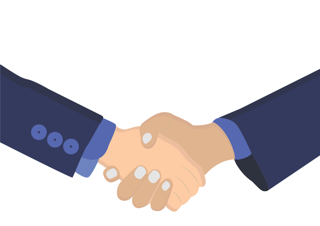 In illustration showing two people in suits shaking hands. LinkedIn is a great professional platform for making connecting through a group.
