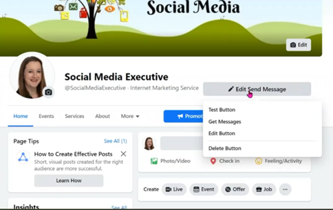 A Screen Grab of the new Facebook layout. This shows that you can now tailor your call to action buttons to your business.