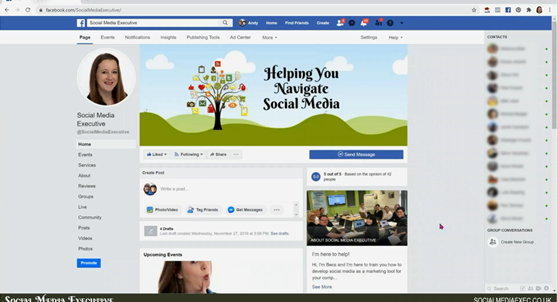 A screen grab of the classic Facebook page layout.