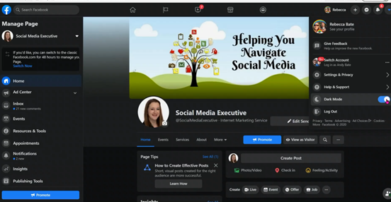 A screen grab of a brand new feature in the Facebook new layout. You can now select dark mode!