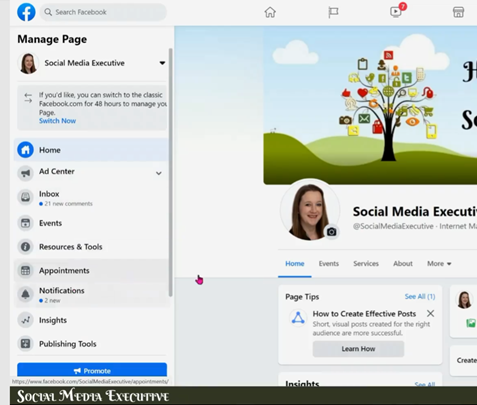 A screen grab of the New Facebook layout. Your setting have moved to the left hand side.
