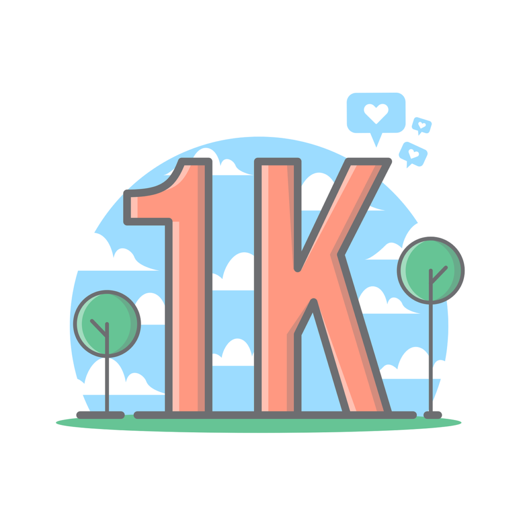An illustration showing the magic Twitter number. 1000 followers will allow you make a sponsored tweet, to get further reach.