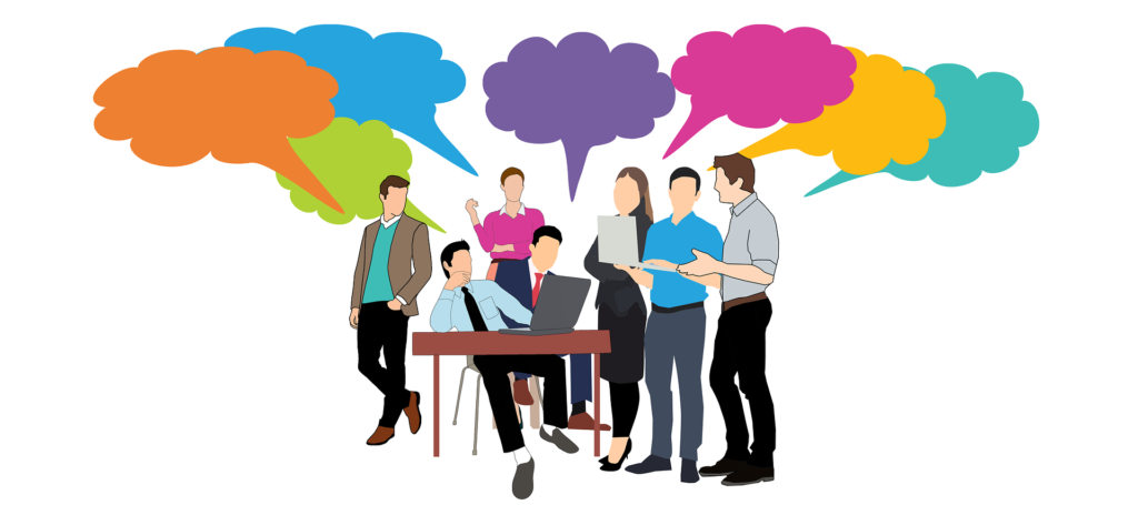 An illustration showing small group of young professionals gathering around a man sitting at a desk with a laptop all talking about the merits of twitter. It shows multi-coloured ideas clouds coming from all of their heads.