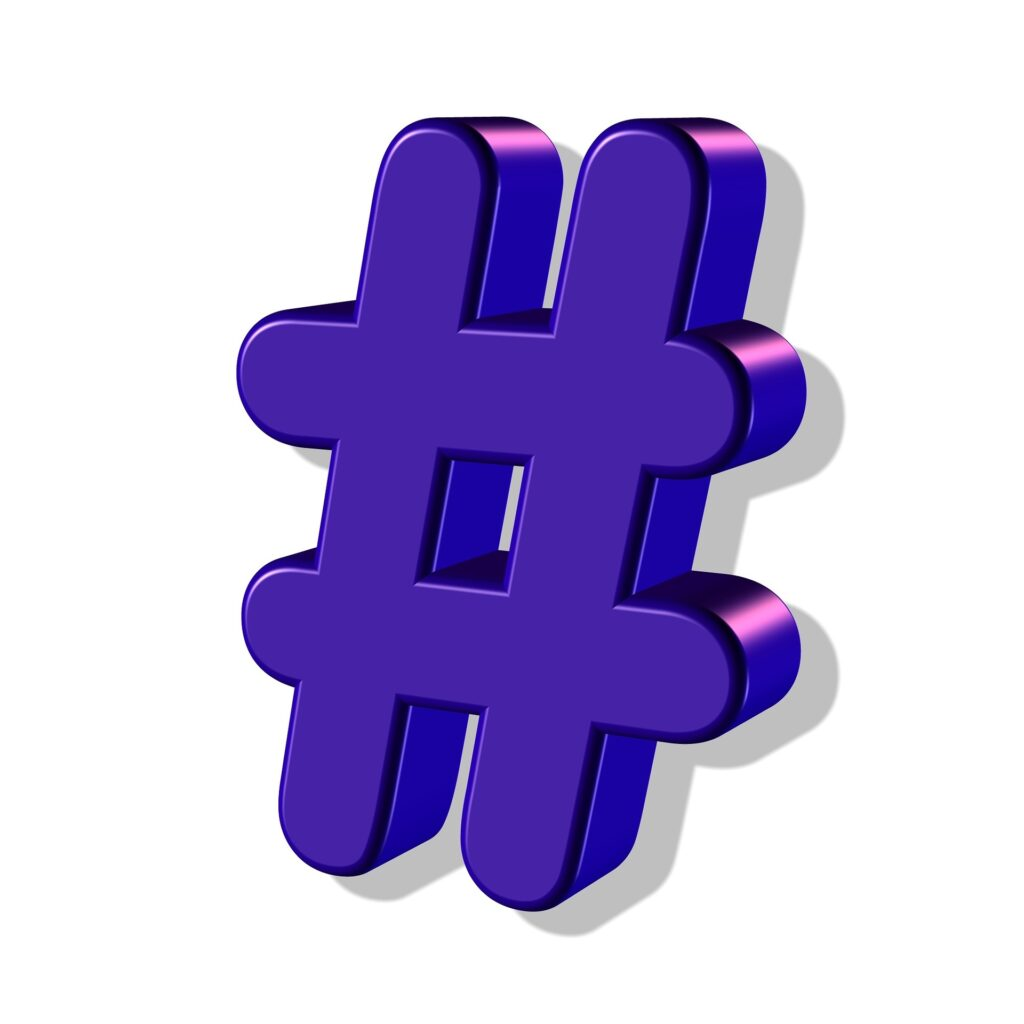 An illustration showing a 3d purple hashtag. Hashtags are so important when you are