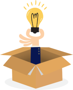 An illustration of a hand coming out of a cardboard box with a blue jacket sleeve holding a light blub. Showing how branding can be influential when you are planning your social media.