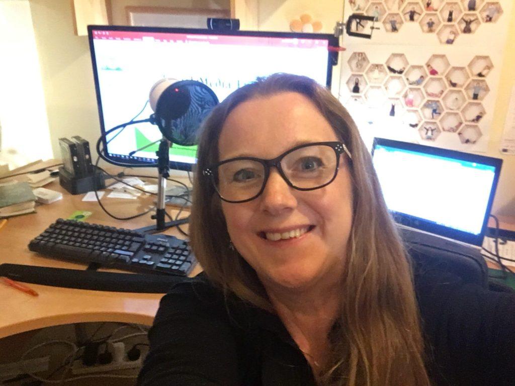 Becs Bate, Social Media Executive in her recording studio