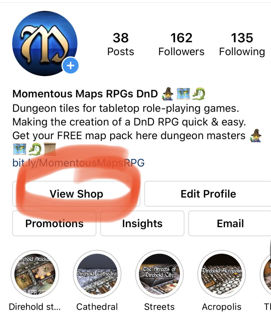 Instagram has changed its rules regarding selling products and shops. This image shows you how easy it is for you or your customers to access your shops on-line. It is a screen grab from Mo-mentous maps with the words view shop highlighted in red.