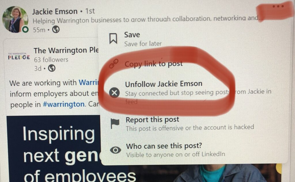 A screen grab of a LinkedIn page showing you how to unfollow someone. You don't have to terminate your connection, if you unfollow you will no longer have their posts in your newsfeed. You will still be able to see their posts and send them messages