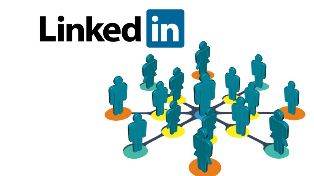 Graphic picture showing green representations of professional women and men standing on orange green and yellow dots connected via the app LinkedIn. The LinkedIn logo is alaso on the top left hand corner.