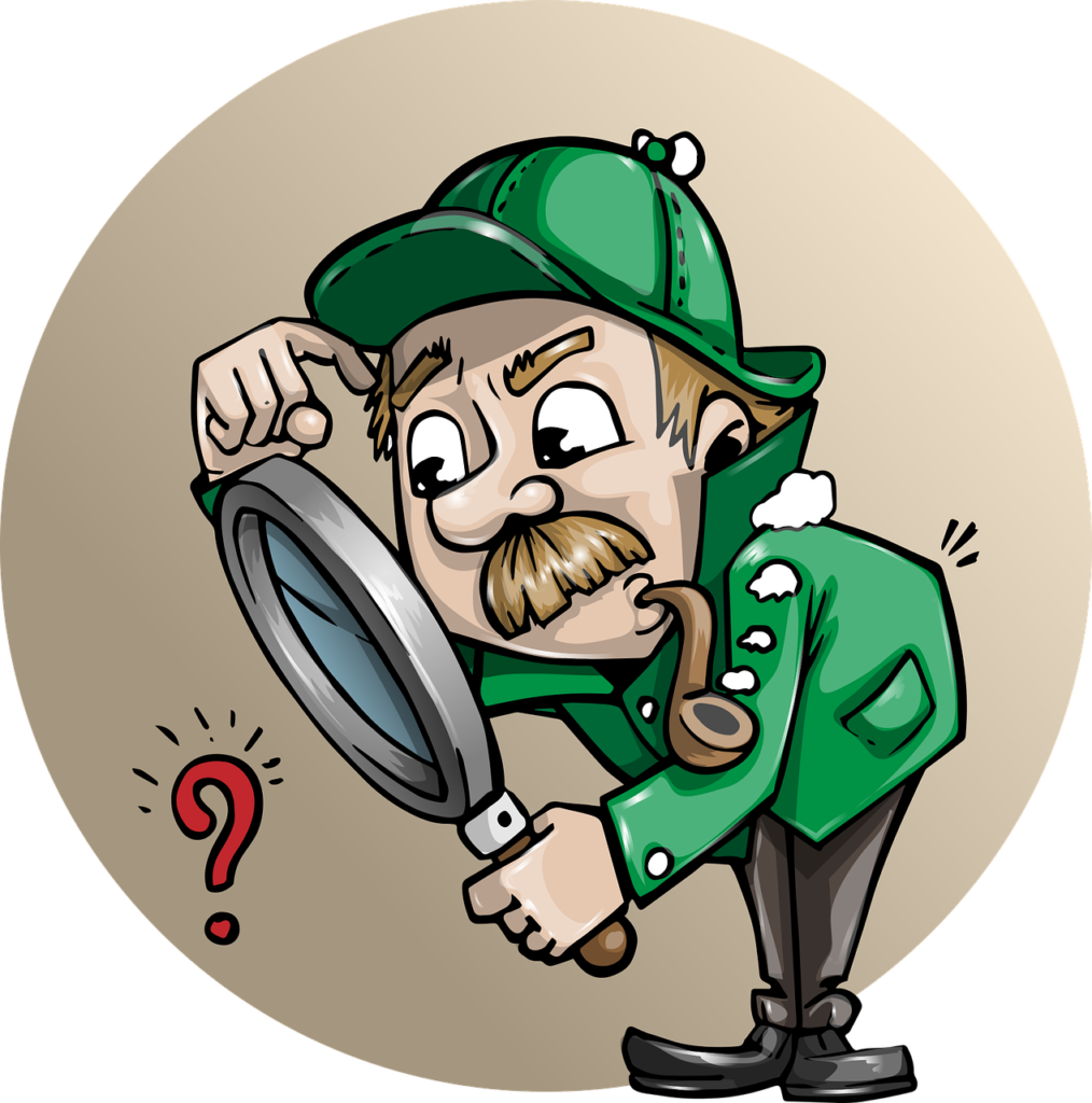 An illustration showing Sherlock Holmes looking through his magnifier. He is intently looking at your profile because you are creating curiosity through your social media posts. When you want to sell on social media, curiosity is your friend. Get people intertest enough to investigate further!
