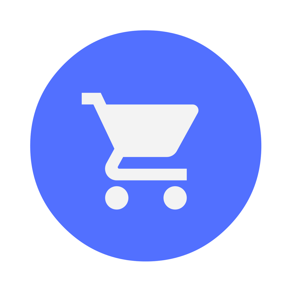 I am talking how to sell on line without buying any Facebooks ads. This image is a white shop-ping trolley on a blue background. The best thing you can to is set up your store correctly. Keep reading for useful tips