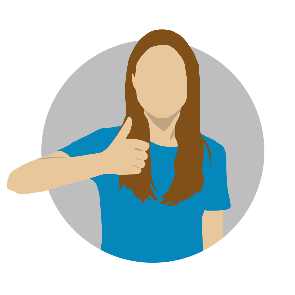 A young cartoon girl with long brown hair and a blue top. She is giving a thumbs up to show that there is a solution, and it's possible to stop making mistakes with your social media.
